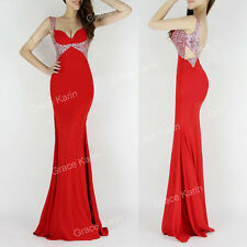Long Maxi Backless Formal Prom Dress Party Ball Evening Pageant Wedding Gown RED