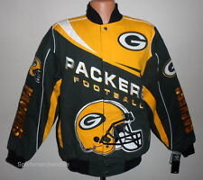 Green Bay Packers NFL Kick Off Twill Jacket Green & Yellow Size XL Free Ship