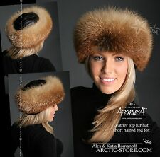 NEW ARKTIKA Gold red fox fur Russian Tsar hat roller style natural leather top