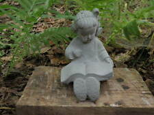 "Cement 6"" Tall Girl Reading Book Child Garden Art Statue Concrete Very Cute"