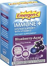 Emergen-C Immune+ System Support Fizzy Mix, Blueberry-Acai Flavored 10 ea 2pk