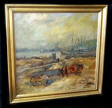 """1910s Oil Painting """"Cart by River"""" by George Overbury (Pop) Hart (1868-33) (New)"""