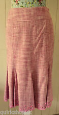 MONSOON pink & multi SILK BOUCLE woven TWEED sequinned skirt ( lined ) 8 36 NEW