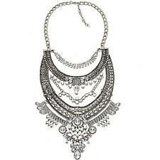 Bib Statement Costume Bohemain Multi-layers Crystal Necklace Collar Ethnic