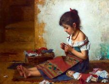 Oil Alexei Alexeivich Harlamoff - The Little Seamstress girl sewing & her doll