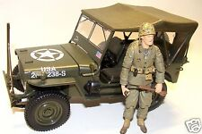 1:18 Solido WWII USMC Willy Jeep Military Vehicle w/ 21st Century Figure Soldier
