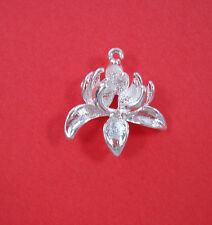 2 Sterling Silver Plated Flower Connector Brass Pendant.