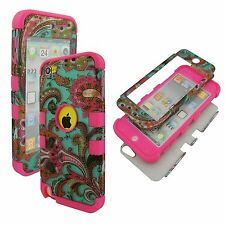 Pnk Blue Paisley Hybrid 3 in 1 Apple  Ipod Touch 5 Case Hard Cover Faceplate