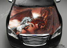 Dragon Unicorn Full Color Graphics Adhesive Vinyl Sticker Fit any Car Hood #168