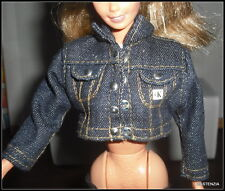 TOP MATTEL BARBIE DOLL CALVIN KLEIN CROPPED BLUE JEAN JACKET ACCESSORY CLOTHING