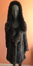 Linda Richards Luxury Real Knit Mink Fur w/Hood Long Coat Outwear Jacket $3295~L