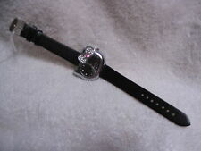 """Hello Kitty"" Black Watch - Hello Kitty Face / Black Leather Band"