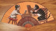 Vintage Chinese Hand Fan, Dog Pianist, Cat Singer, Ca. 1900-1940