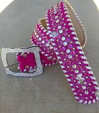 bb Simon Pink Leather Cowhide Wide Western Belt Swarvoski Crystal Bling Cowgirl