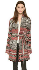 New $168 FREE PEOPLE IONA PATTERN WRAP CARDI CARDIGAN BELTED SWEATER COAT XS