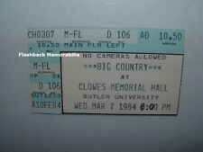 BIG COUNTRY 1984 Concert Ticket Stub INDIANAPOLIS Butler University VERY RARE