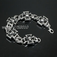 Mens Stainless Steel Iron Cross Skull Bracelet Chain Bangle Rock Biker Jewelry