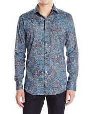 BUGATCHI UOMO Mocha & Blue Paisley Men's Shirt - Size Large SHAPED FIT  NWT $199