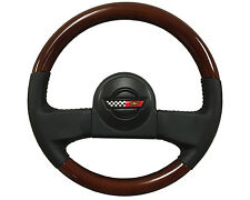 1986-1989 C4 Corvette Leather/Mahogany Wood Steering Wheel Horn Button & Emblem