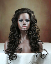 lace front wig long curly style mix color