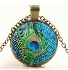 Vintage Peacock feathers Photo Cabochon Glass Bronze Chain Pendant Necklace