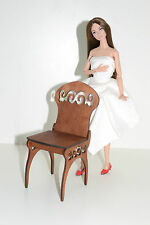 chair for Dolls 12 inch 1/6 1:6 furniture Barbie FR wooden handmade OOAK NEW!
