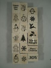 Merry Christmas Wood Mounted Rubber Stamp Set, Hero Arts, LL795, Snowman, Joy