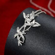 """18"""" 925 Silver Plated Hot Selling Flowers Plants Ladies Necklace Jewelry Gifts"""