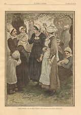 Children, Sunday Morning, Cote De Grace Honfleur, Vintage 1884 Antique Art Print