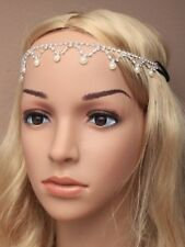 NEW Crystal diamante and pearl bead headchain tiara wedding bride prom