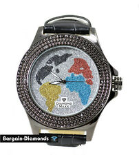 Black Diamond mens big World Map Watch white blue red yellow ice out master maxx