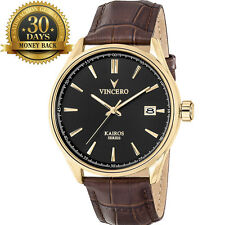 New Vincero Men's Watch Brown&Black Leather Strap 12 Hour Dial Wrist Watch Gift