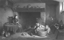 COUNTRY FARM KIDS play w TOY BOATS in Cottage TUB ~ Old 1875 Art Print Engraving