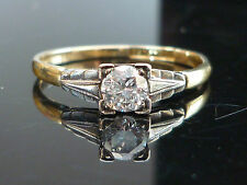 Stunning Antique 18ct gold, platinum 0.30ct Round cut Solitaire diamond ring D10