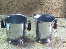 HAMMERED CHROME Sugar And Creamer With Brown Bakelite Handles