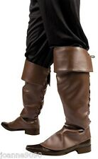 BROWN LEATHER LOOK MEDIEVAL PIRATE JACK SPARROW FANCY DRESS COSTUME BOOT COVERS