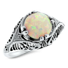 VINTAGE ANTIQUE STYLE .925 STERLING WHITE LAB OPAL SILVER RING SIZE 8,   #800