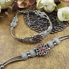 free shipping NEW DIY Tibetan silver red fashion beaded bracelet  S172d