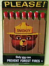 SMOKEY THE BEAR PLEASE! heavy embossed metal sign forest fire prevention 2060111