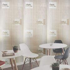 Coffe vinyl textured Wallpaper column illusion gold kitchen mettalic stripe  3D