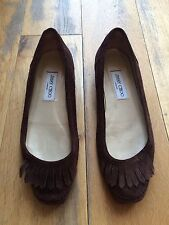 Jimmy Choo Fringe Tassel Suede Flat Shoes 39