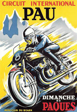 Art Deco - Pau Cicuit Motorcycle Bike - A3 Art Poster Print