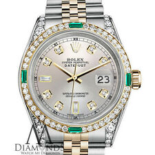Womens Rolex Stainless Steel&Gold 31mm Datejust Watch Silver Emerald DiamondDial