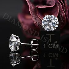 4 Ct Round Brilliant Cut Solitaire Earrings Studs ScrewBack Solid 14K White Gold