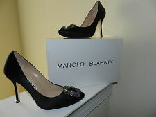 Manolo Blahnik Black Hangisi 105 Satin Pumps $965 36.5 US 6.5