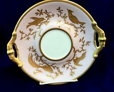 VTG Hand Painted LIMOGES TRAY Plate SIGNED Jival PINK Gold BIRD of PARADISE