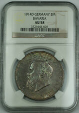 1914 D Germany 5 Mark Bavaria Silver Coin NGC AU-58 Toned