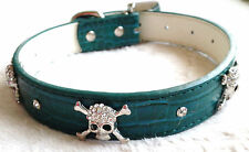 Diamonte Skull Cross Bones Studs Pet Collar Cat Dog Collar M-L 02 Dark Green