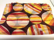 Vintage Georgette Silk Hand Printed Circles Brown Yellow Orange Red 4.5 yds
