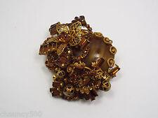 Vintage Miriam Haskell Brown Crystal Rhinestone & Gold Tone Large Flower Brooch